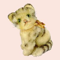 """Steiff cat Susi with original bow produced 1965 to 1978 midi size 5 and a half """""""