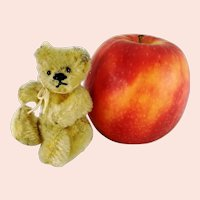Steiff Teddy Bear with button yellow smallest 3 inches 1950s vintage fully jointed miniature OTB