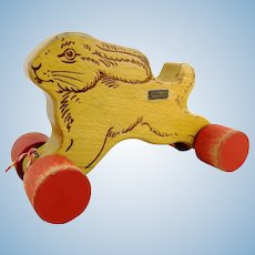 "Steiff rabbit on wheels with ID, 1970 to 74, sanded beech wood, 8"" long"