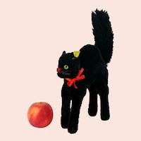 """Steiff Black Tom Cat with IDs largest 9"""" made 1959 to 1962 second post war edition"""