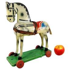 Wooden horse on wheels 1930s German vintage toy so called Odenwalder Gaulschen