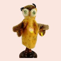 Steiff owl hand puppet with all IDs, vintage 1968 to 1978 last edition