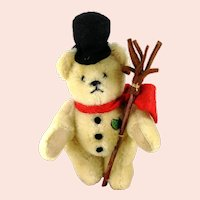 Vintage Mini Snowman Teddy Bear with IDs 1990s Germany made by Martin