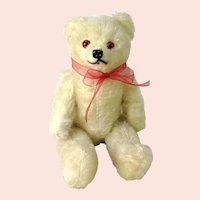 """Stick Jointed Teddy Bear white 1940s German made 8"""""""