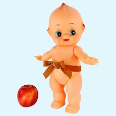 """Large Kewpie doll vinyl 1970s collectible 14"""" jointed with starfish hands"""