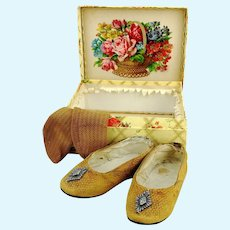 Doll leather shoes, 5 inches long with socks in box, marked