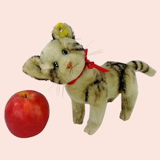 """Steiff Cat Kitty with IDs midi size 7"""" fully jointed Tabby 1949 to 1964 produced"""