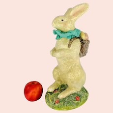 "Large White Easter Bunny 1930s Figurine 14"" glimmering glittering paper mache"