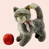 """Steiff Cat Cattie with IDs largest 10"""" standing 1984 to 1988 vintage"""
