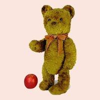 "German Vintage Teddy Bear 18"" leather nose wool plush unknown maker"