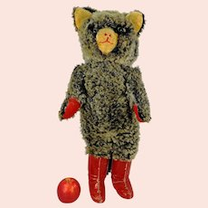 """Puss in Boots Cat Toy 1960s German vintage large 24"""" with cardboard boots"""