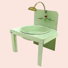1920s Tin Dollhouse Washstand with faux lamp and moveable basin