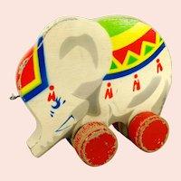 "Vintage 1960s elephant on wheels 7"" German wooden toy by GECEVO"