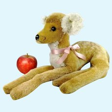 """Steiff fawn deer with button lying 14"""" vintage 1965 to 1967 made"""