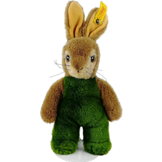 Steiff Rabbit Bunny Toldi with IDs and squeaker 1980s vintage 10 inches