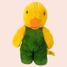 Steiff Duck Toldi with IDs and squeaker 1980s vintage 8 inches