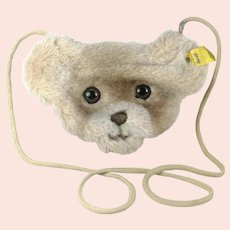Steiff teddy coin purse or bag on a cord with IDs vintage 1978 to 83