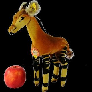 """Steiff Okapi all IDs midi size 11"""" vintage 1965 to 1967 velvet animal"""