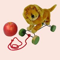 Steiff Dachshund Bazi pull toy with IDs eccentric wheels 7 inches 1950 to 1961 only