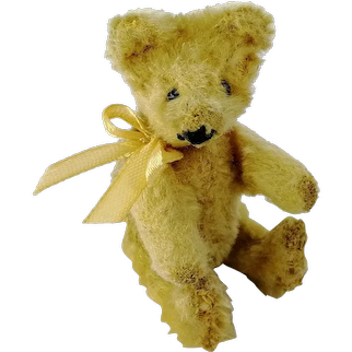 Small Vintage Teddy Bear 4 inches yellow mohair 1950s