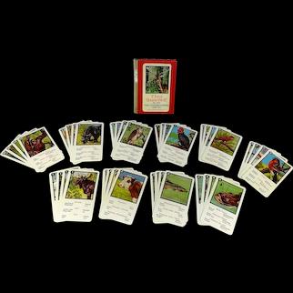 Piantik Childrens Playing Card Game animal quartet multilingual complete 1950s
