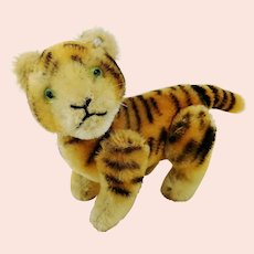 """Small fully jointed Steiff tiger with button 4"""" made 1952 to 1959 only"""
