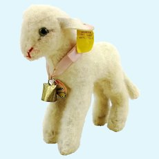 """Steiff lamb, all IDs, produced 1959 to 64, standing 6"""" white wool plush Lamby"""