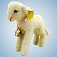 "Steiff lamb, all IDs, produced 1959 to 64, standing 6"" white wool plush Lamby"