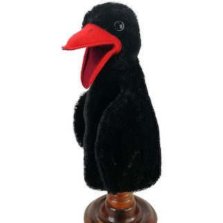 Steiff raven hand puppet, no IDs, vintage made 1965 to 1969