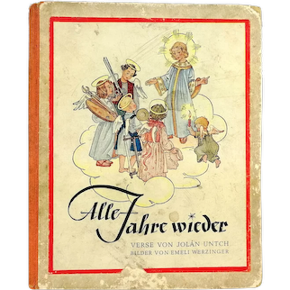 Vintage Christmas Childrens book 1950 with beautiful illustrations and poems in German