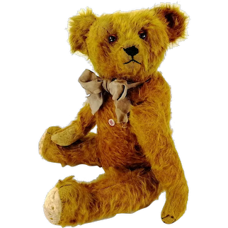 """Petz Teddy Bear with ID 16"""" cinnamon coloured 1950s made by Anton Kiesewetter"""