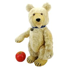 Steiff teddy baby bear, large 15 inches tall, 1930 - 1943 produced, active double squeaker