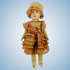 """1920s Flapper girl doll in original organza clothes with felt flowers, 18"""""""