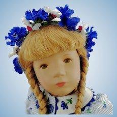 "Kathe Kruse doll redhead, 14"", 1993 vintage, original cornflower dress, flower crown"