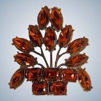 Vintage Brooch Art Deco Basket of Flowers with Rhinestones