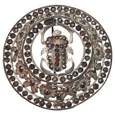 Antique Brooch Cut Steel Scarab Art Nouveau