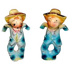 Vintage Salt and Pepper Shakers Ceramic Scarecrows Japan Hand Painted