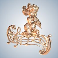 Lang Brooch Sterling Silver Satyr with Pipes Signed Vintage