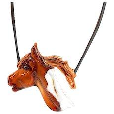 Art Glass Horse Pendant Necklace