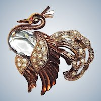 Fred Gray Brooch Peacock in Rose Gold Rare Book Piece Signed Vintage
