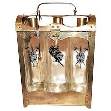 Mid Century Bar Ware Set Locked Liquor Decanters Brass Tantalus Music Box