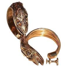 Vintage Earrings Snake Heads on Coiled Hoops