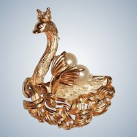 Erwin Pearl Brooch Swan with Glass Pearls Rhinestone Signed Vintage