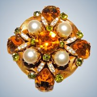Vendome Brooch Glass Pearls and Rhinestones Signed Vintage