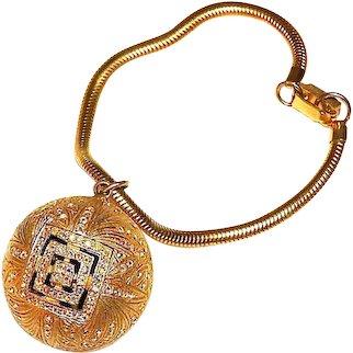 Art Deco Bracelet Rhinestone Mirror Ball on Snake Chain Vintage