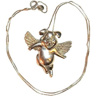 Pig with Wings Pendant and Brooch Sterling Silver Chain Signed