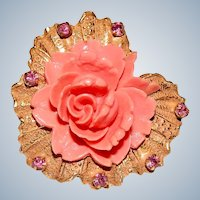 Original by Robert Brooch Lucite Flower with Rhinestones Signed Vintage