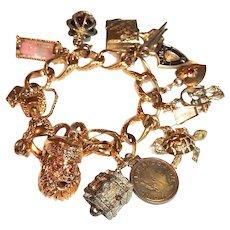 Vintage Monet Charm Bracelet Santa Claus Hour Glass Turtle More Book Piece