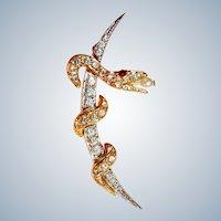 Joan Rivers Brooch Snake on Moon Rhinestones Signed Vintage