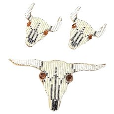 Mary B Solano Brooch and Earrings Set Beaded Longhorn Steer Signed
